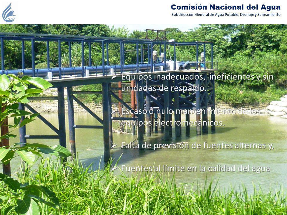 Subdirección General de Agua Potable, Drenaje y Saneamiento Comisión Nacional del Agua Equipos inadecuados, ineficientes y sin unidades de respaldo. E