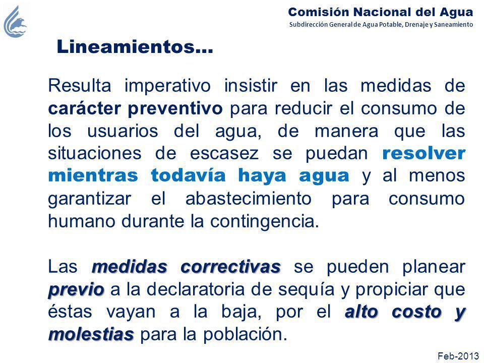 Subdirección General de Agua Potable, Drenaje y Saneamiento Comisión Nacional del Agua Feb-2013 Medidas preventivas Rehabilitar los sistemas Rehabilitar los sistemas operados por la CONAGUA, como: Sistema Cutzamala PAI Valle de México Acueducto Uxpanapa – La Cangrejera, Ver.