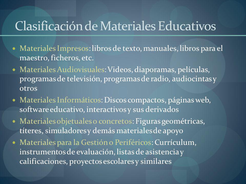 Clasificación de Materiales Educativos Materiales Impresos: libros de texto, manuales, libros para el maestro, ficheros, etc. Materiales Audiovisuales