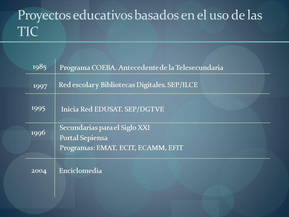Secundarias para el Siglo XXI Portal Sepiensa Programas: EMAT, ECIT, ECAMM, EFIT Inicia Red EDUSAT. SEP/DGTVE Red escolar y Bibliotecas Digitales. SEP