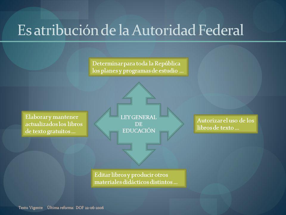 Texto VigenteÚltima reforma: DOF 22-06-2006 Es atribución de la Autoridad Federal LEY GENERAL DE EDUCACIÓN Determinar para toda la República los plane