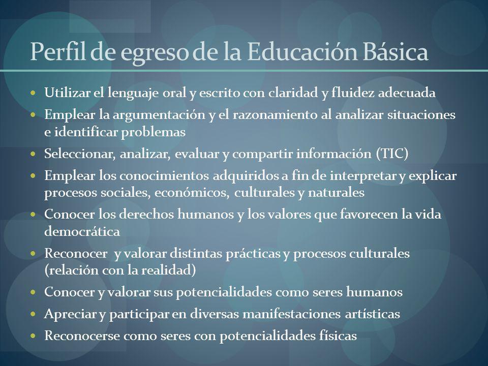 Perfil de egreso de la Educación Básica Utilizar el lenguaje oral y escrito con claridad y fluidez adecuada Emplear la argumentación y el razonamiento