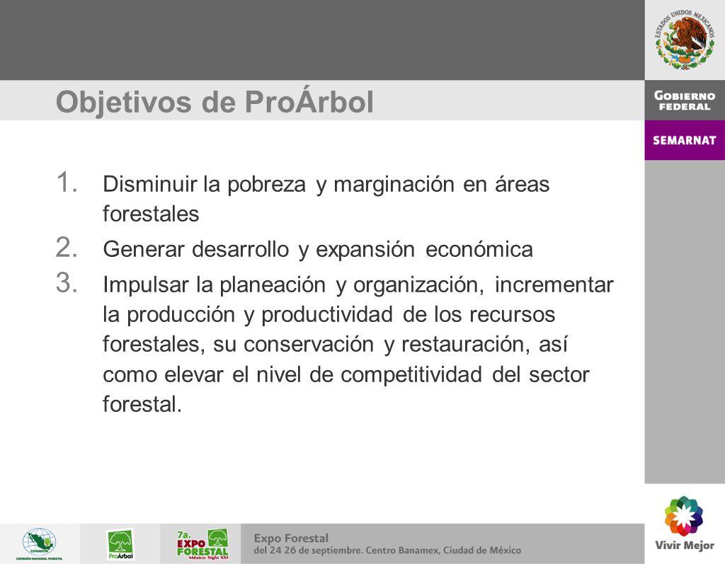 Objetivos de ProÁrbol 1. Disminuir la pobreza y marginación en áreas forestales 2. Generar desarrollo y expansión económica 3. Impulsar la planeación