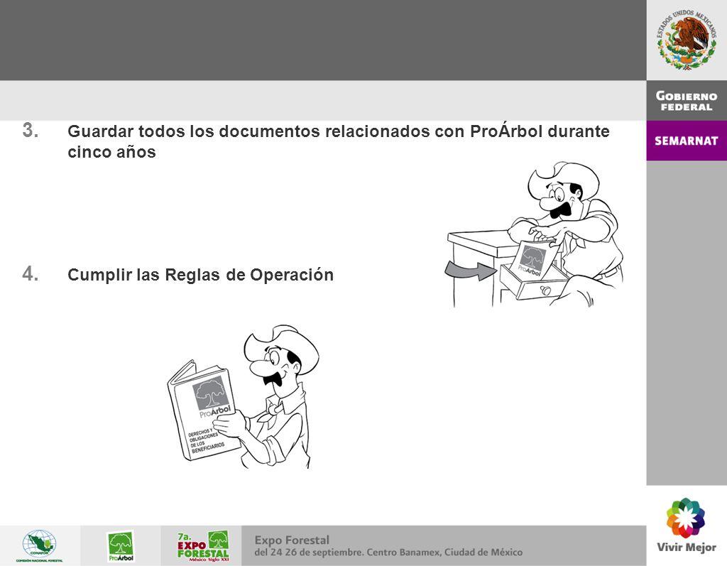 3. Guardar todos los documentos relacionados con ProÁrbol durante cinco años 4. Cumplir las Reglas de Operación