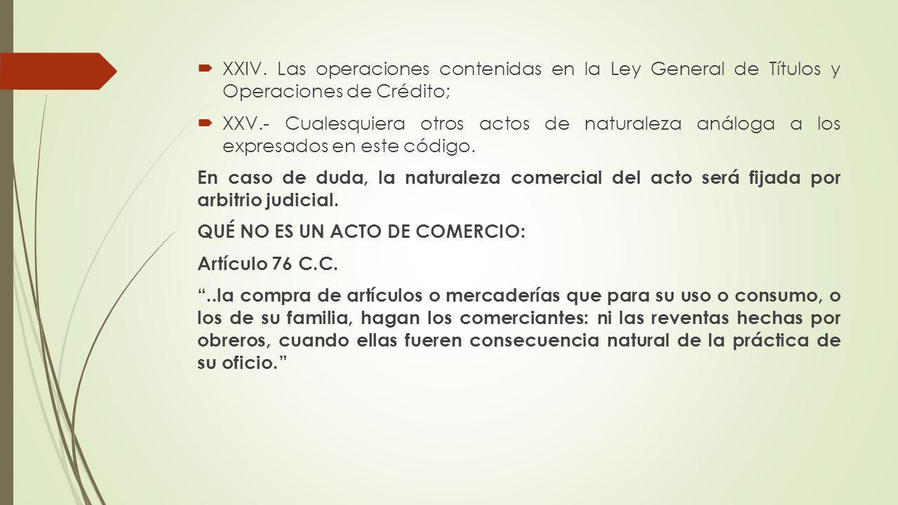 XXIV. Las operaciones contenidas en la Ley General de Títulos y Operaciones de Crédito; XXV.- Cualesquiera otros actos de naturaleza análoga a los exp