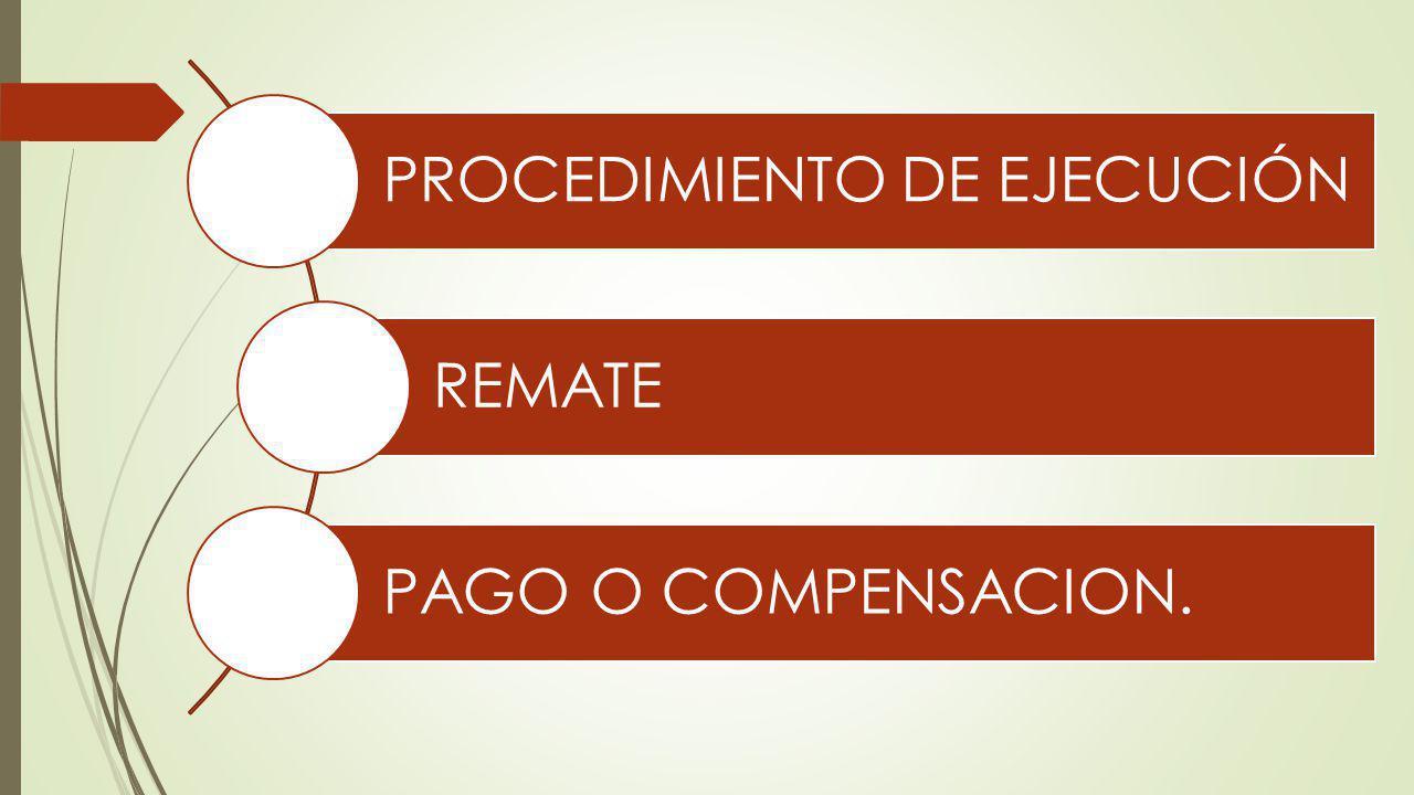 PROCEDIMIENTO DE EJECUCIÓN REMATE PAGO O COMPENSACION.