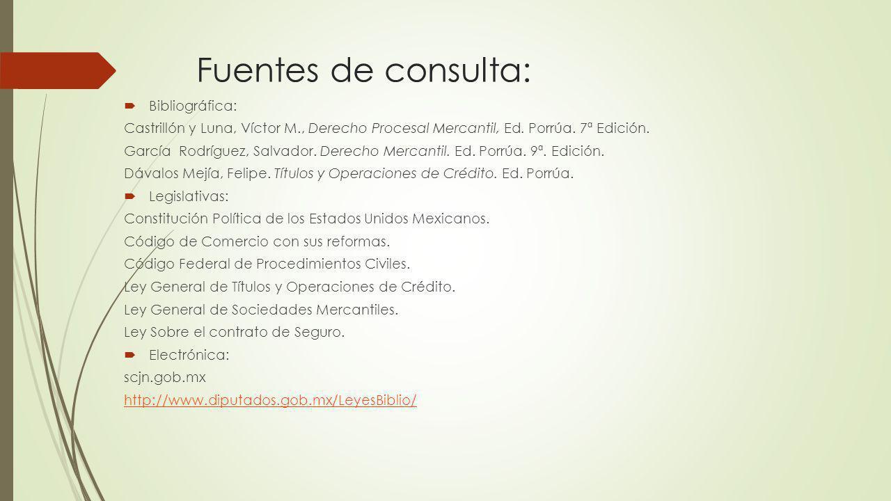 Fuentes de consulta: Bibliográfica: Castrillón y Luna, Víctor M., Derecho Procesal Mercantil, Ed. Porrúa. 7ª Edición. García Rodríguez, Salvador. Dere