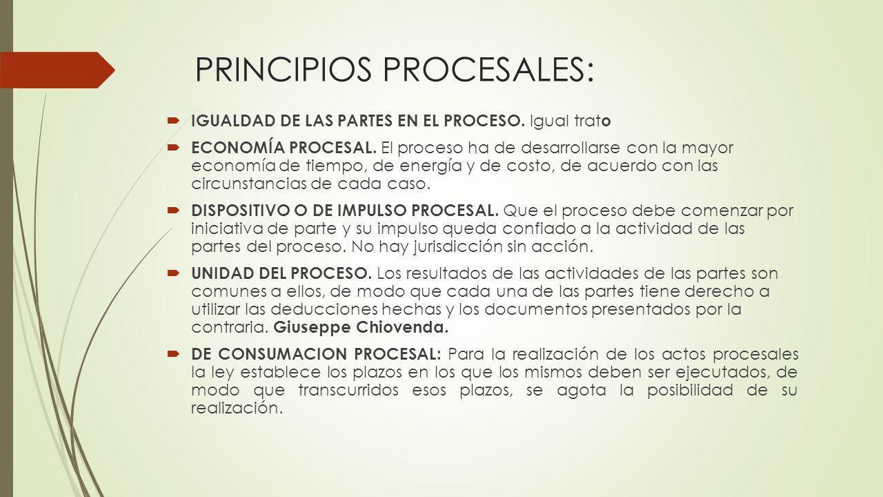 PRINCIPIOS PROCESALES: IGUALDAD DE LAS PARTES EN EL PROCESO. Igual trat o ECONOMÍA PROCESAL. El proceso ha de desarrollarse con la mayor economía de t