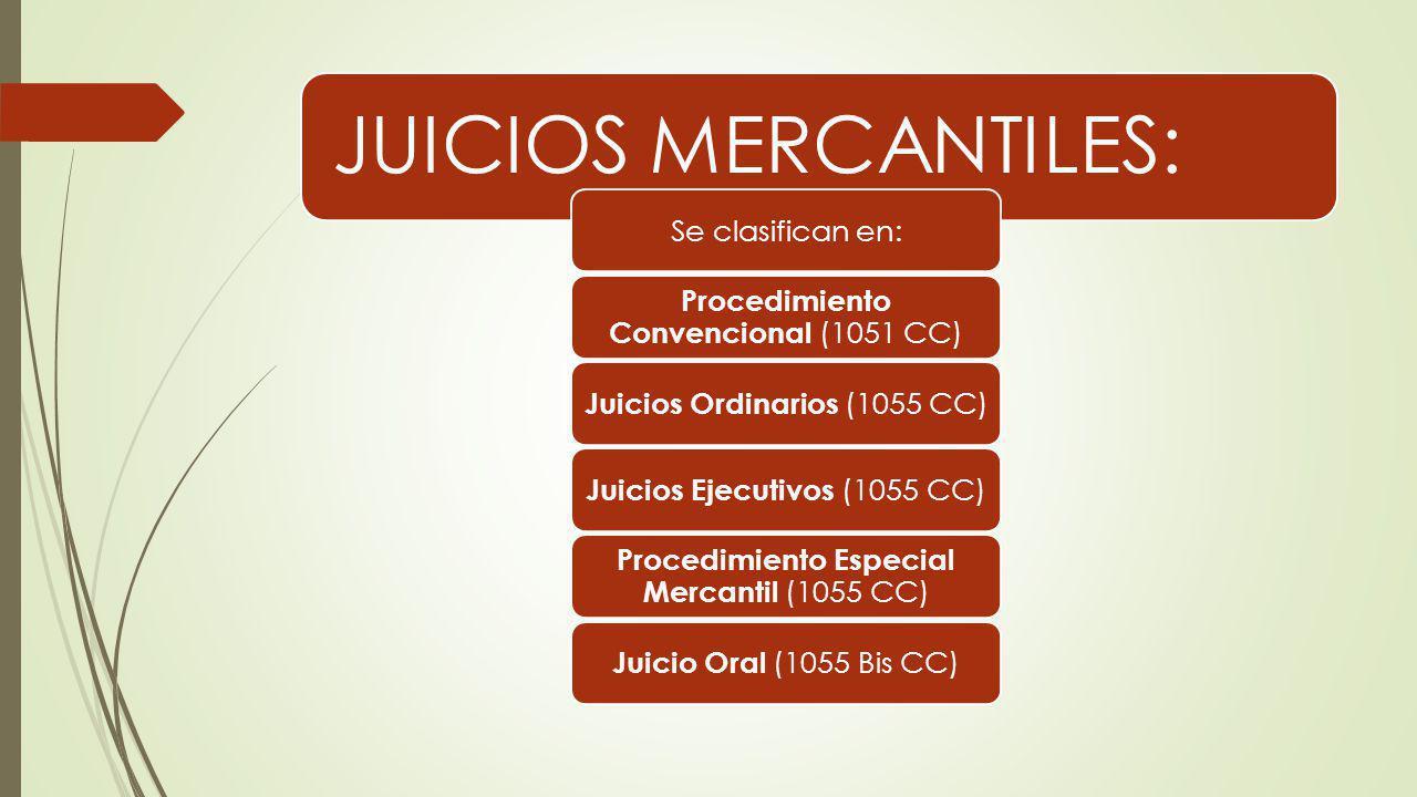JUICIOS MERCANTILES: Se clasifican en: Procedimiento Convencional (1051 CC) Juicios Ordinarios (1055 CC) Juicios Ejecutivos (1055 CC) Procedimiento Es