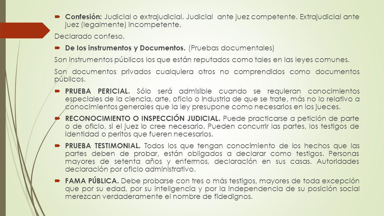 Confesión: Judicial o extrajudicial. Judicial ante juez competente. Extrajudicial ante juez (legalmente) incompetente. Declarado confeso. De los instr