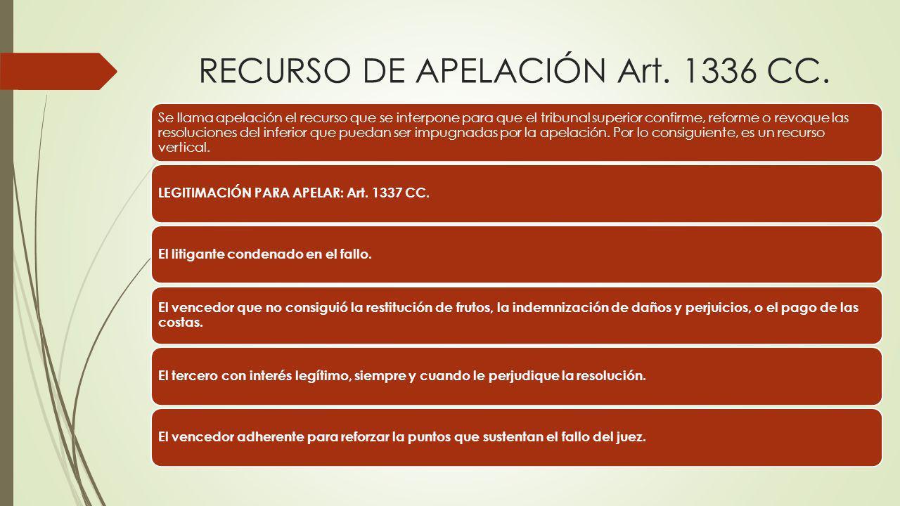 RECURSO DE APELACIÓN Art. 1336 CC. Se llama apelación el recurso que se interpone para que el tribunal superior confirme, reforme o revoque las resolu