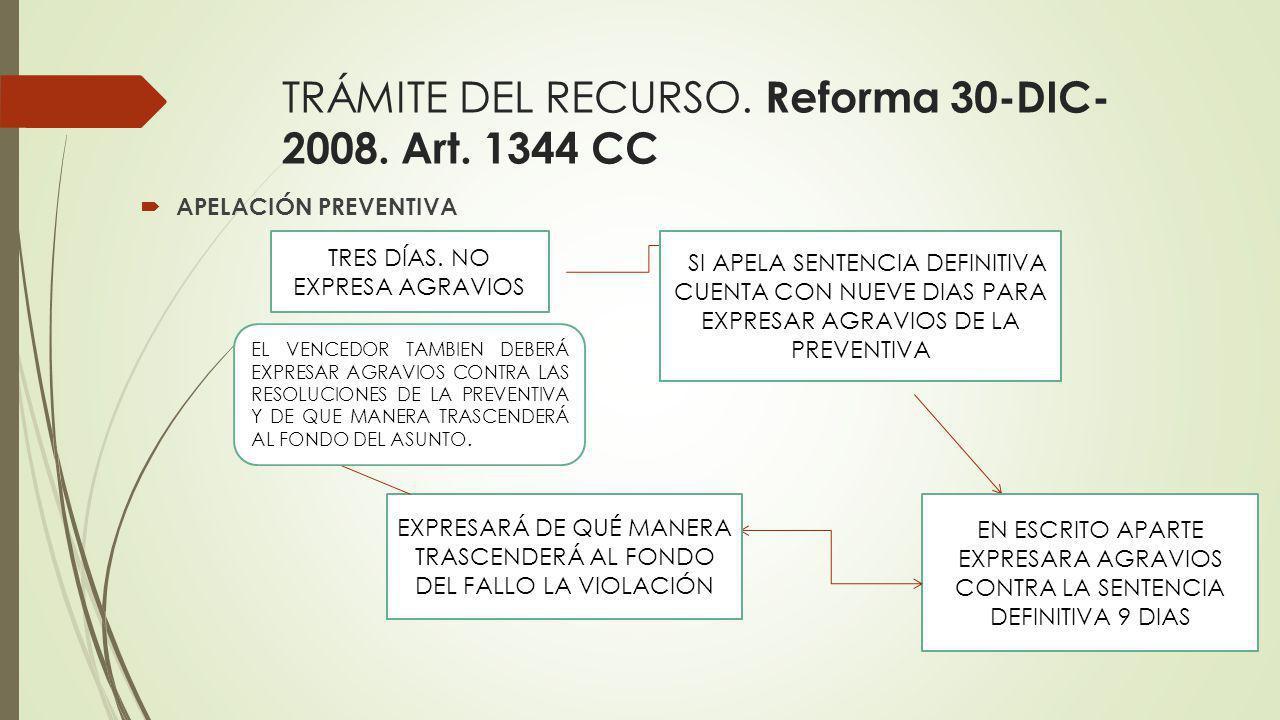 TRÁMITE DEL RECURSO. Reforma 30-DIC- 2008. Art. 1344 CC APELACIÓN PREVENTIVA TRES DÍAS. NO EXPRESA AGRAVIOS SI APELA SENTENCIA DEFINITIVA CUENTA CON N