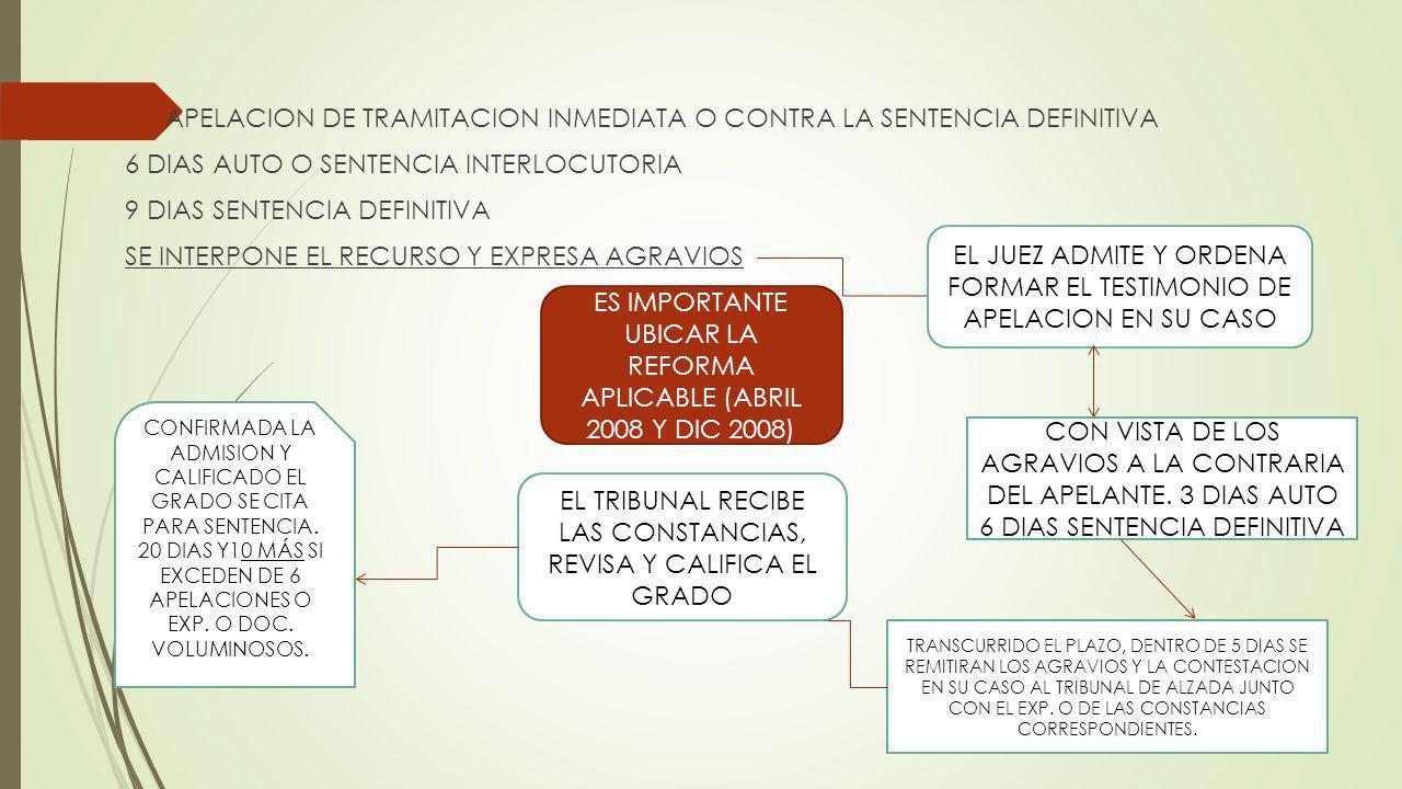 APELACION DE TRAMITACION INMEDIATA O CONTRA LA SENTENCIA DEFINITIVA 6 DIAS AUTO O SENTENCIA INTERLOCUTORIA 9 DIAS SENTENCIA DEFINITIVA SE INTERPONE EL