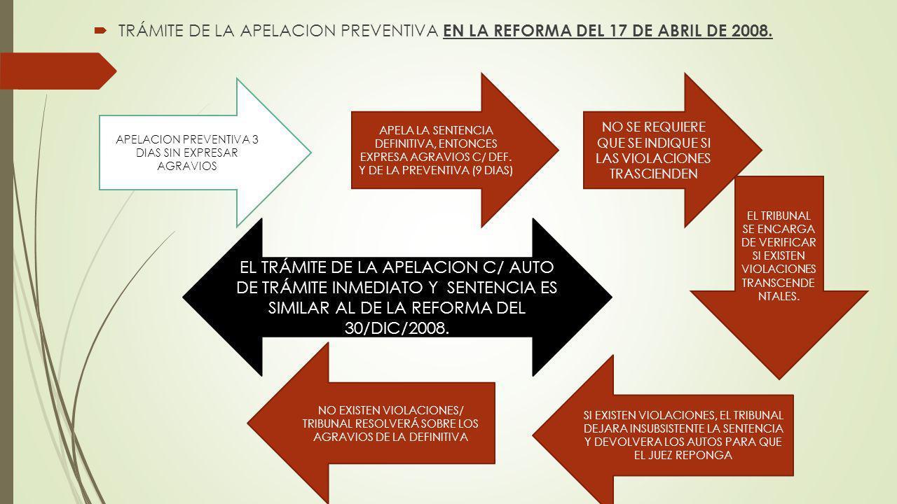 TRÁMITE DE LA APELACION PREVENTIVA EN LA REFORMA DEL 17 DE ABRIL DE 2008. APELACION PREVENTIVA 3 DIAS SIN EXPRESAR AGRAVIOS APELA LA SENTENCIA DEFINIT