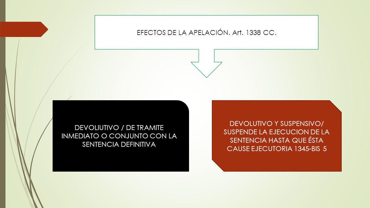 EFECTOS DE LA APELACIÓN. Art. 1338 CC. DEVOLIUTIVO / DE TRAMITE INMEDIATO O CONJUNTO CON LA SENTENCIA DEFINITIVA DEVOLUTIVO Y SUSPENSIVO/ SUSPENDE LA