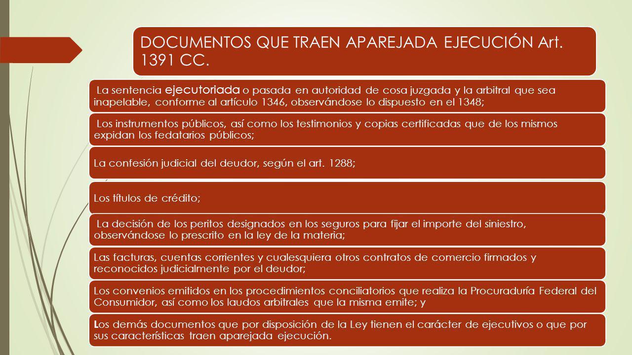 DOCUMENTOS QUE TRAEN APAREJADA EJECUCIÓN Art. 1391 CC. La sentencia ejecutoriada o pasada en autoridad de cosa juzgada y la arbitral que sea inapelabl