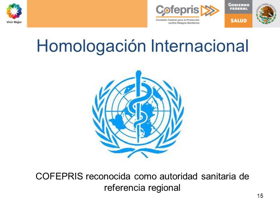 Homologación Internacional 15 COFEPRIS reconocida como autoridad sanitaria de referencia regional