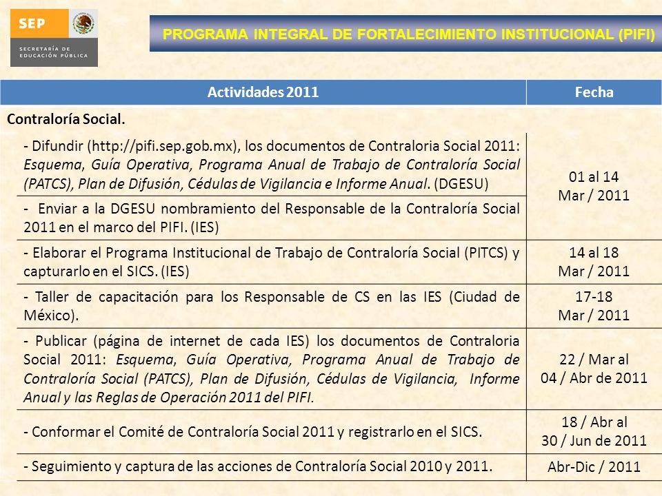 Actividades 2011Fecha Contraloría Social. - Difundir (http://pifi.sep.gob.mx), los documentos de Contraloria Social 2011: Esquema, Guía Operativa, Pro