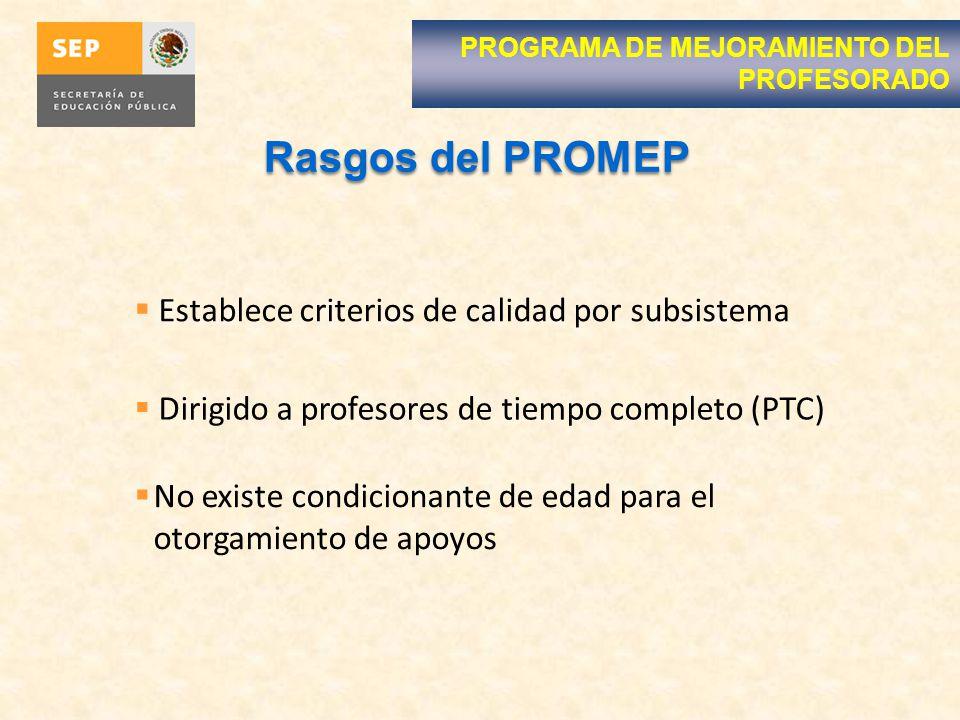 Rasgos del PROMEP Establece criterios de calidad por subsistema Dirigido a profesores de tiempo completo (PTC) No existe condicionante de edad para el