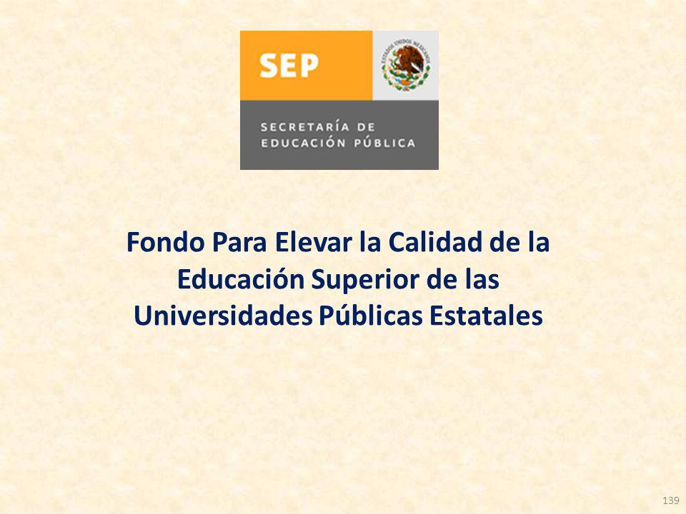 139 Fondo Para Elevar la Calidad de la Educación Superior de las Universidades Públicas Estatales