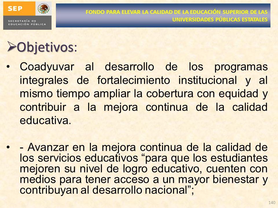 Objetivos Objetivos: Coadyuvar al desarrollo de los programas integrales de fortalecimiento institucional y al mismo tiempo ampliar la cobertura con equidad y contribuir a la mejora continua de la calidad educativa.