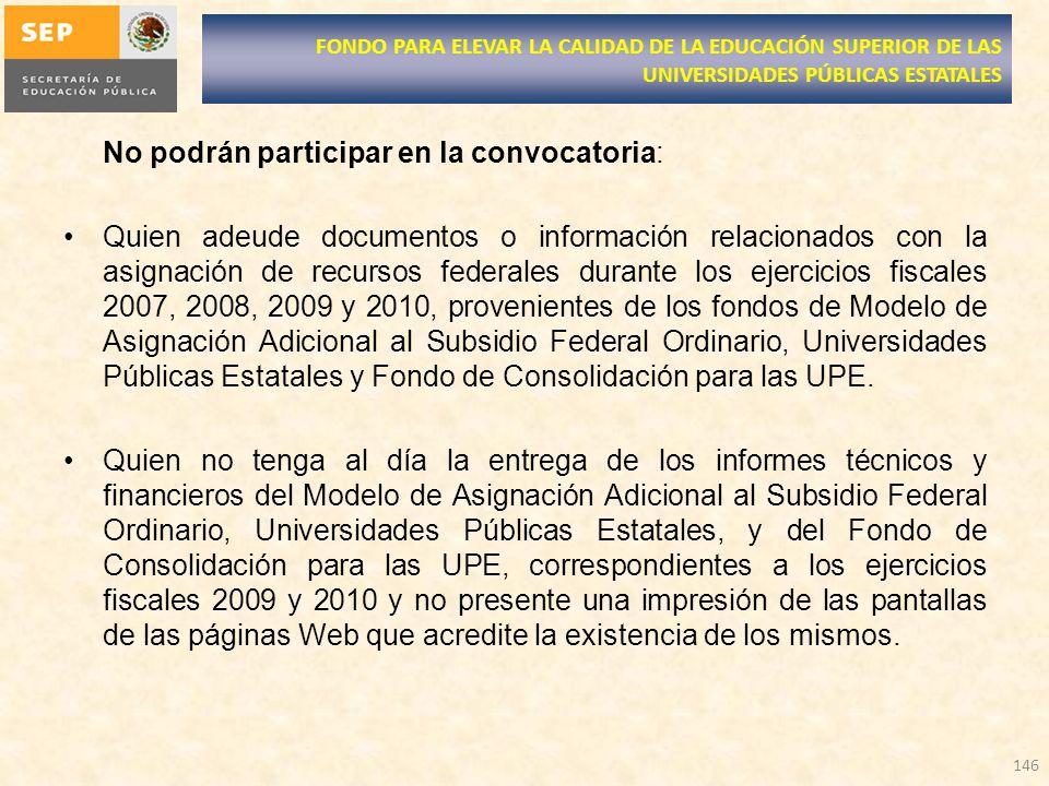 No podrán participar en la convocatoria: Quien adeude documentos o información relacionados con la asignación de recursos federales durante los ejerci