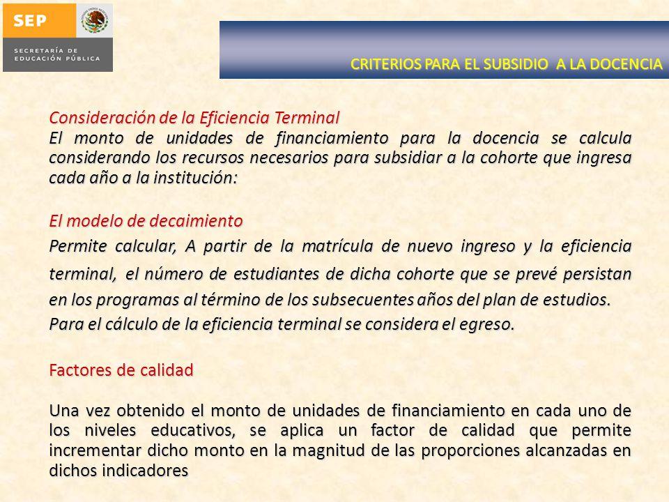CRITERIOS PARA EL SUBSIDIO A LA DOCENCIA Consideración de la Eficiencia Terminal El monto de unidades de financiamiento para la docencia se calcula co