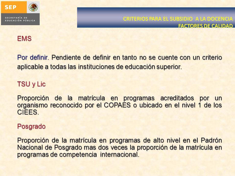 CRITERIOS PARA EL SUBSIDIO A LA DOCENCIA FACTORES DE CALIDAD EMS Por definir.