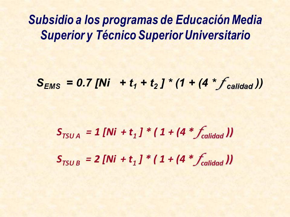Subsidio a los programas de Educación Media Superior y Técnico Superior Universitario f calidad S EMS = 0.7 [Ni + t 1 + t 2 ] * (1 + (4 * f calidad ))