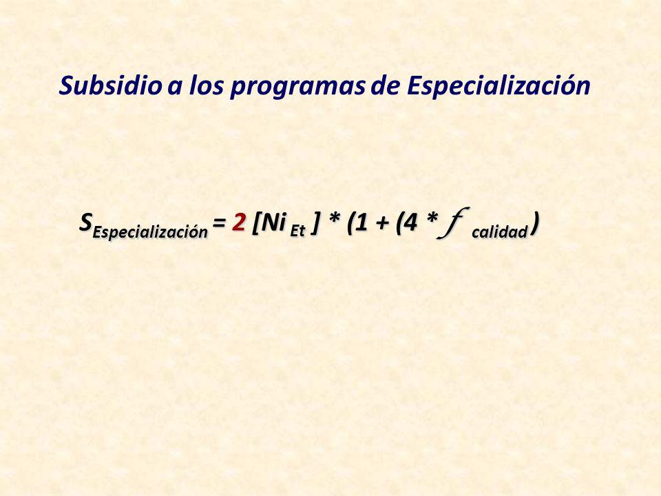 S Especialización = 2 [Ni Et ] * (1 + (4 * f calidad ) Subsidio a los programas de Especialización