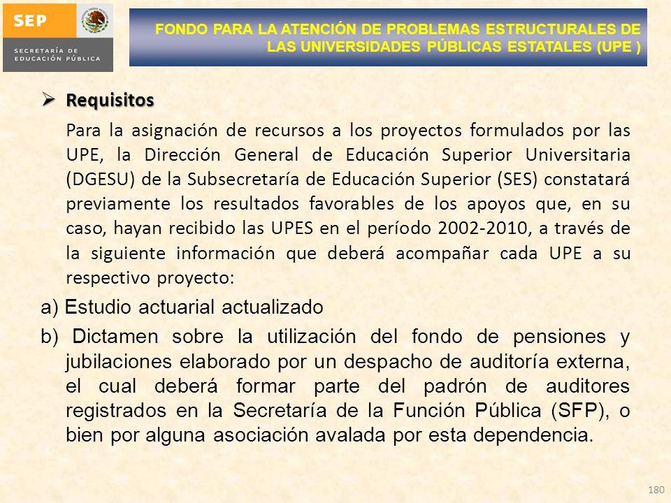 Requisitos Requisitos Para la asignación de recursos a los proyectos formulados por las UPE, la Dirección General de Educación Superior Universitaria (DGESU) de la Subsecretaría de Educación Superior (SES) constatará previamente los resultados favorables de los apoyos que, en su caso, hayan recibido las UPES en el período 2002-2010, a través de la siguiente información que deberá acompañar cada UPE a su respectivo proyecto: a) Estudio actuarial actualizado b) Dictamen sobre la utilización del fondo de pensiones y jubilaciones elaborado por un despacho de auditoría externa, el cual deberá formar parte del padrón de auditores registrados en la Secretaría de la Función Pública (SFP), o bien por alguna asociación avalada por esta dependencia.