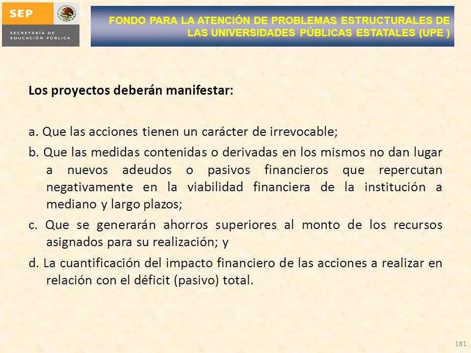 Los proyectos deberán manifestar: a. Que las acciones tienen un carácter de irrevocable; b. Que las medidas contenidas o derivadas en los mismos no da