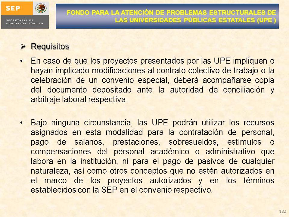 Requisitos Requisitos En caso de que los proyectos presentados por las UPE impliquen o hayan implicado modificaciones al contrato colectivo de trabajo