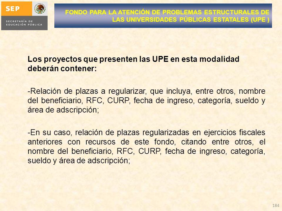 Los proyectos que presenten las UPE en esta modalidad deberán contener: -Relación de plazas a regularizar, que incluya, entre otros, nombre del benefi
