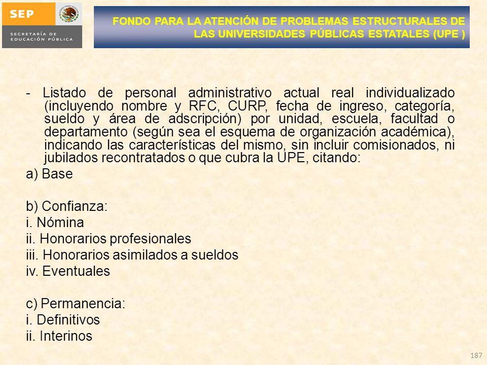 - Listado de personal administrativo actual real individualizado (incluyendo nombre y RFC, CURP, fecha de ingreso, categoría, sueldo y área de adscrip