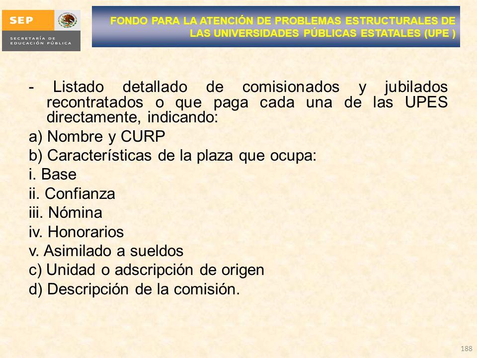 - Listado detallado de comisionados y jubilados recontratados o que paga cada una de las UPES directamente, indicando: a) Nombre y CURP b) Características de la plaza que ocupa: i.