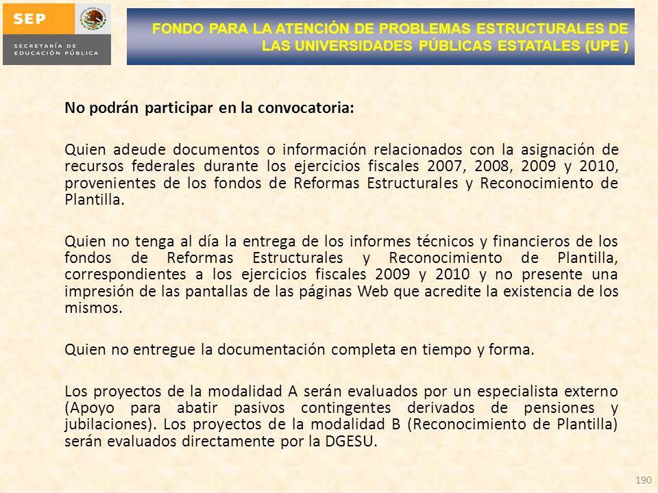No podrán participar en la convocatoria: Quien adeude documentos o información relacionados con la asignación de recursos federales durante los ejercicios fiscales 2007, 2008, 2009 y 2010, provenientes de los fondos de Reformas Estructurales y Reconocimiento de Plantilla.