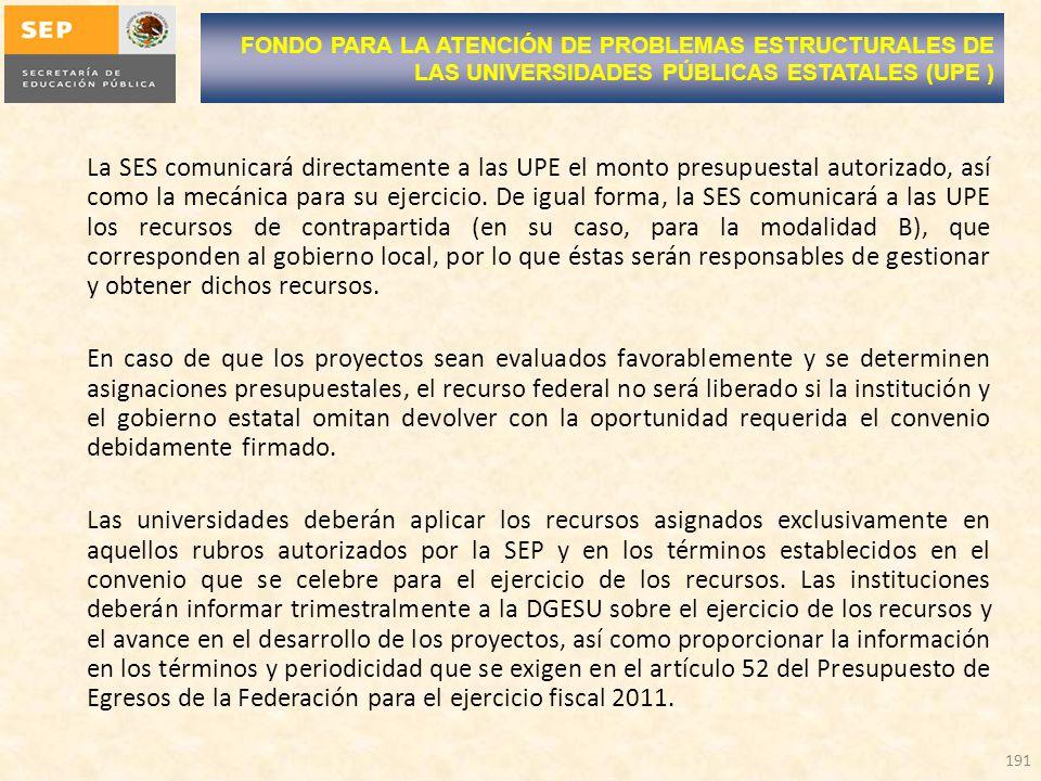 La SES comunicará directamente a las UPE el monto presupuestal autorizado, así como la mecánica para su ejercicio. De igual forma, la SES comunicará a