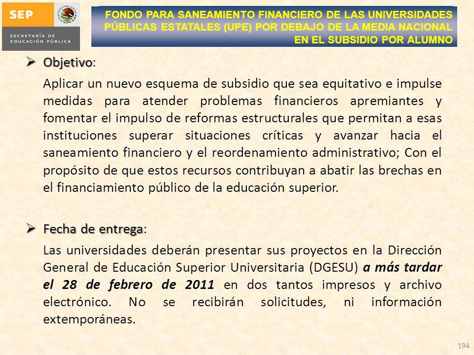 Objetivo Objetivo: Aplicar un nuevo esquema de subsidio que sea equitativo e impulse medidas para atender problemas financieros apremiantes y fomentar