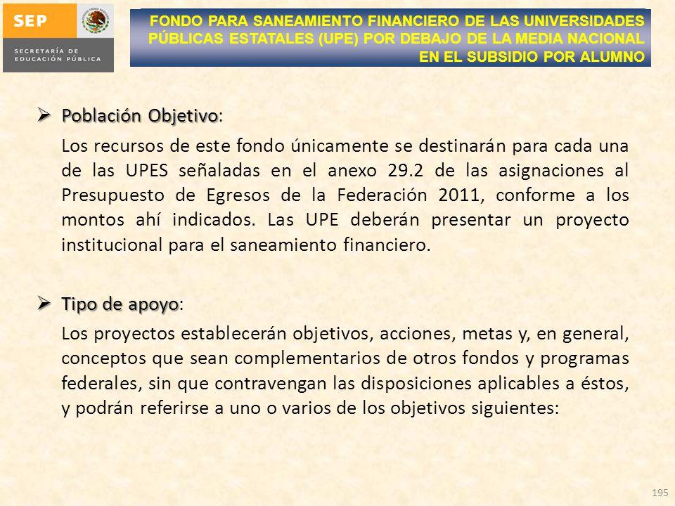 Población Objetivo Población Objetivo: Los recursos de este fondo únicamente se destinarán para cada una de las UPES señaladas en el anexo 29.2 de las