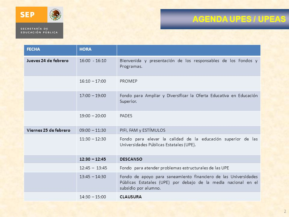2 AGENDA UPES / UPEAS FECHAHORA Jueves 24 de febrero16:00 - 16:10Bienvenida y presentación de los responsables de los Fondos y Programas. 16:10 – 17:0