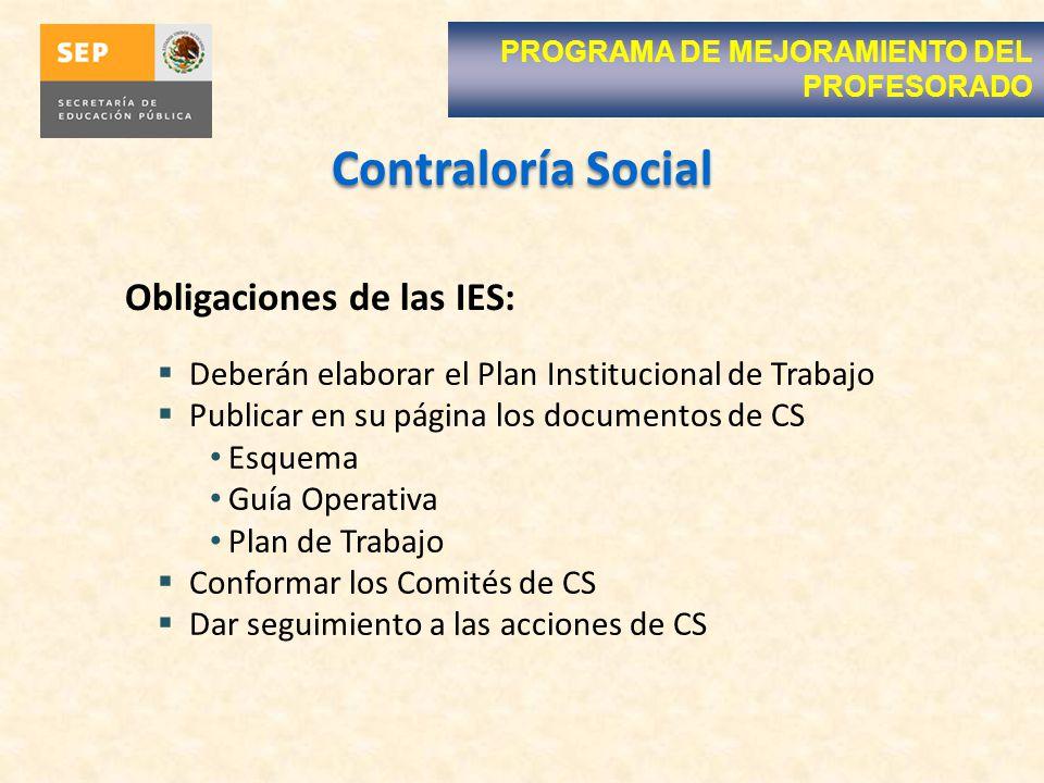 Contraloría Social PROGRAMA DE MEJORAMIENTO DEL PROFESORADO Deberán elaborar el Plan Institucional de Trabajo Publicar en su página los documentos de