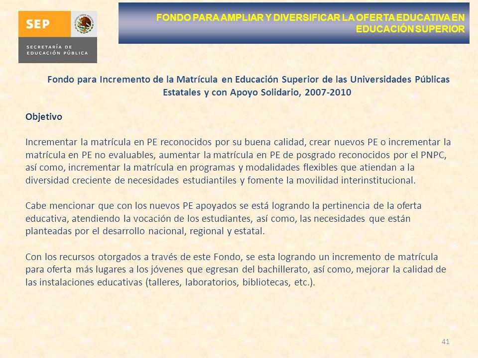 41 FONDO PARA AMPLIAR Y DIVERSIFICAR LA OFERTA EDUCATIVA EN EDUCACIÓN SUPERIOR Fondo para Incremento de la Matrícula en Educación Superior de las Univ