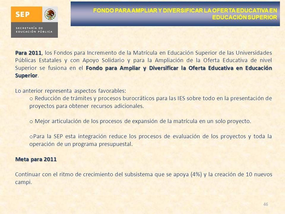 46 FONDO PARA AMPLIAR Y DIVERSIFICAR LA OFERTA EDUCATIVA EN EDUCACIÓN SUPERIOR Para 2011 Fondo para Ampliar y Diversificar la Oferta Educativa en Educ
