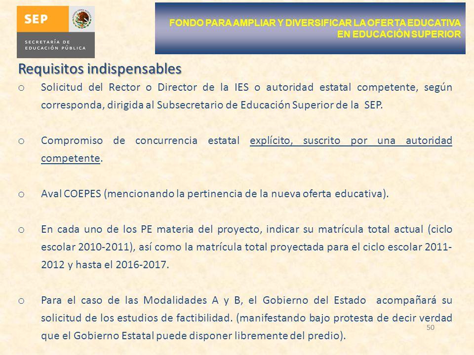 50 Requisitos indispensables o Solicitud del Rector o Director de la IES o autoridad estatal competente, según corresponda, dirigida al Subsecretario de Educación Superior de la SEP.