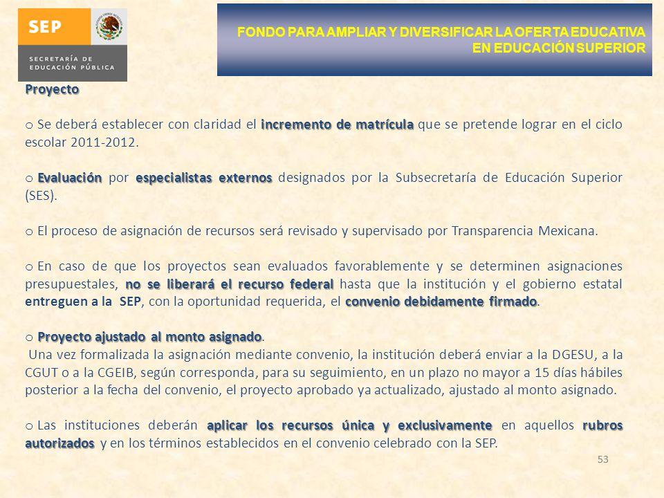 53 Proyecto incremento de matrícula o Se deberá establecer con claridad el incremento de matrícula que se pretende lograr en el ciclo escolar 2011-201
