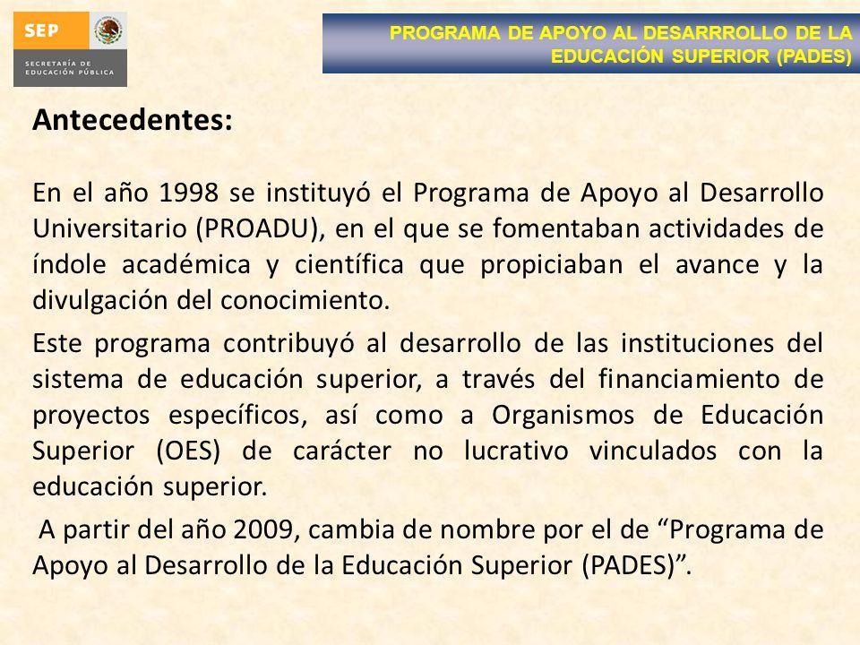 Antecedentes: En el año 1998 se instituyó el Programa de Apoyo al Desarrollo Universitario (PROADU), en el que se fomentaban actividades de índole académica y científica que propiciaban el avance y la divulgación del conocimiento.