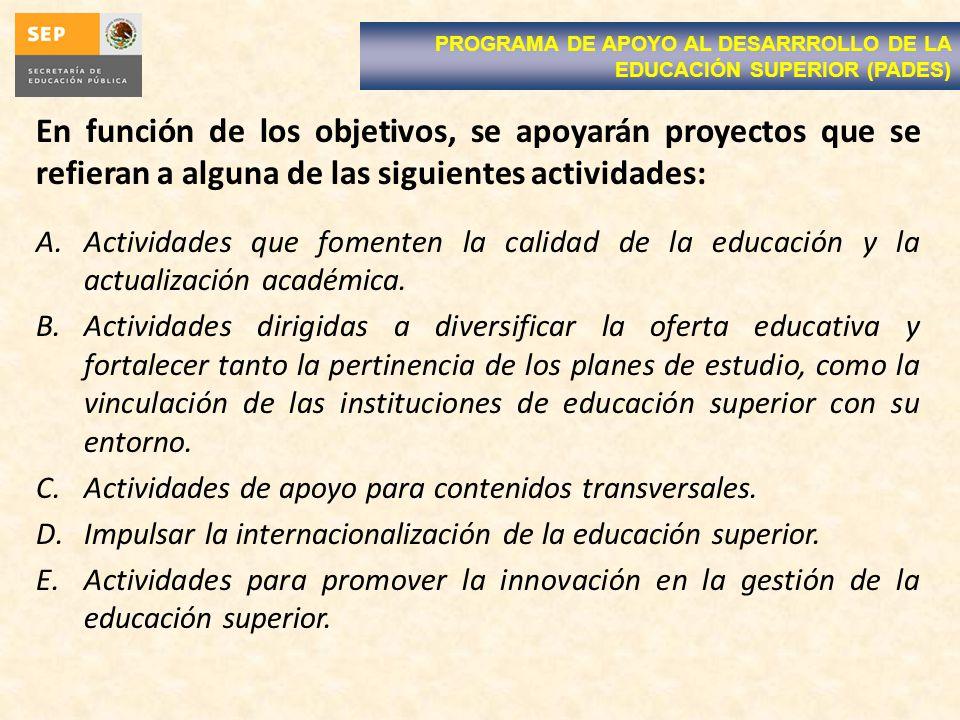 En función de los objetivos, se apoyarán proyectos que se refieran a alguna de las siguientes actividades: A.Actividades que fomenten la calidad de la educación y la actualización académica.