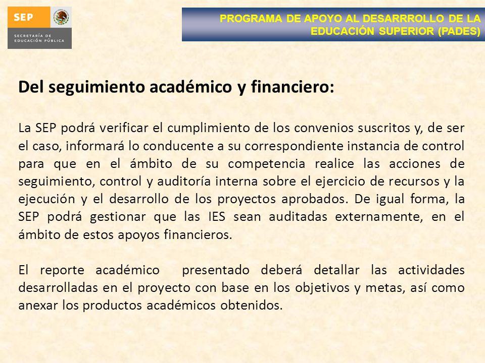 Del seguimiento académico y financiero: La SEP podrá verificar el cumplimiento de los convenios suscritos y, de ser el caso, informará lo conducente a
