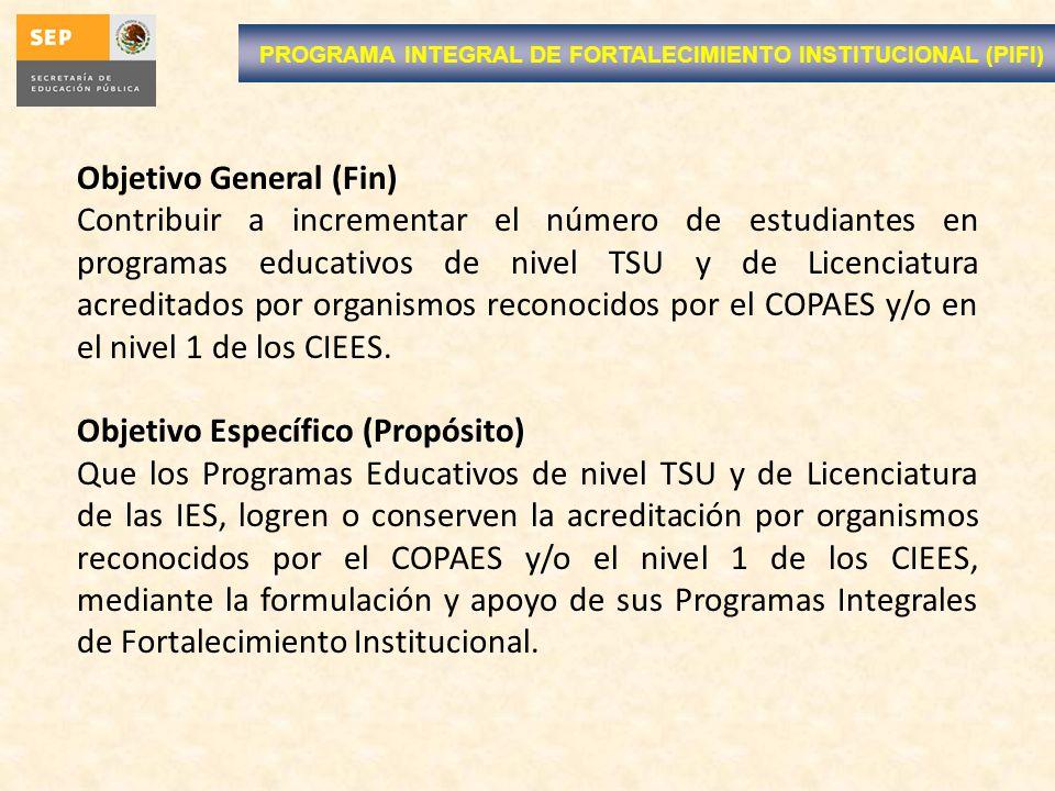 PROGRAMA INTEGRAL DE FORTALECIMIENTO INSTITUCIONAL (PIFI) Objetivo General (Fin) Contribuir a incrementar el número de estudiantes en programas educativos de nivel TSU y de Licenciatura acreditados por organismos reconocidos por el COPAES y/o en el nivel 1 de los CIEES.